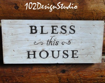 BLESS this HOUSE sign, Rustic Bless This House Sign, Sign for cabin, Lodge sign, Country sign