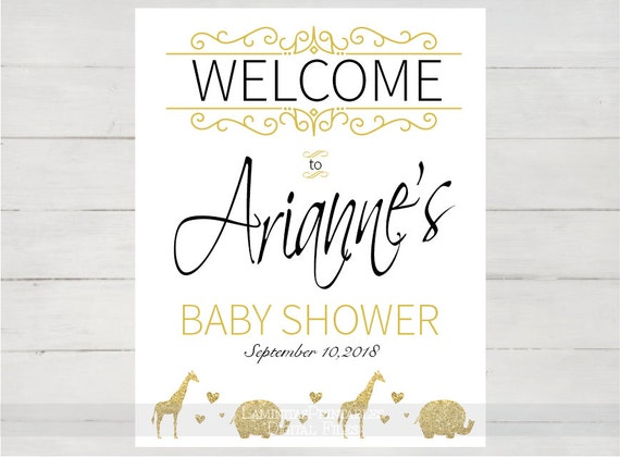 gold baby shower welcome sign elephant baby shower safari boy baby