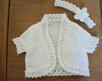 Hand knitted baby bolero & headband set - size 0-6mths