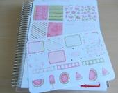 Watermelon Watercolour  - set of 25 stickers perfect for Erin Condren Life Planner, Kikki K or Filofax Planner