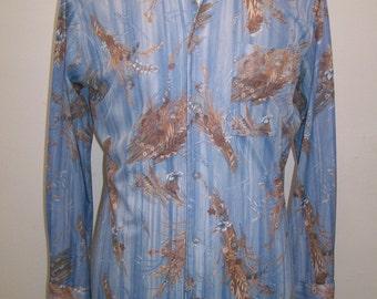 men's 1970's blue print disco shirt by Joel L
