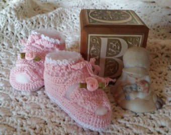 Crochet Pink Thread Booties 0-3 Months