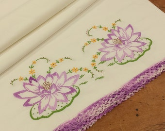 Pair Embroidered Bed Pillow Cases with Crocheted Trim ~ Purple Flowers ~ Set of 2