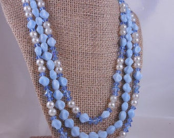 Vintage Blue Crystal and Pearl Beaded Necklace