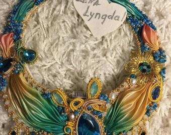 embroidered jewelry, necklace,soutache, shibori,handmade