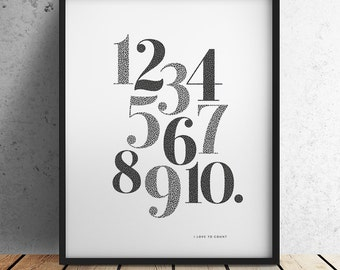 Numbers Print - I love to Count