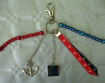 Anchor and Triskel key fob or bag charm