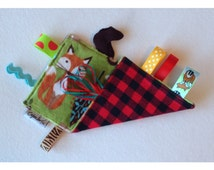 Crinkle sensory tag toy, woodland, teether, baby crinkle paper, crinkle tag toy, fox, owl, squirrel, buffalo plaid