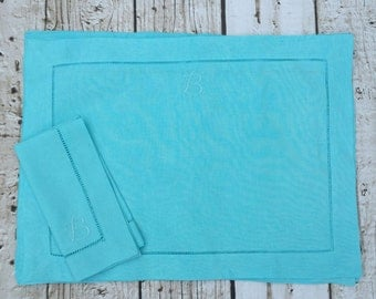 Water Blue Monogrammed Linen Placemat Set