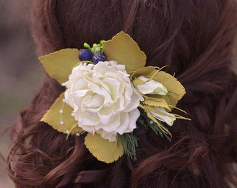 """Flower accessory for hair. Rose decoration.  """"Tender Rose"""". Accessory is made of plastic suede. Hair roses."""