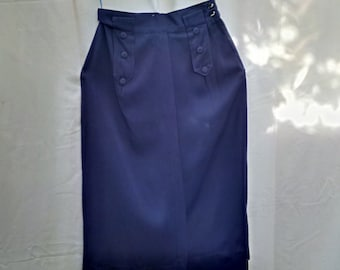 Vintage late 40's / early 50's navy blue gabardine high-waisted pencil skirt 24 inch waist