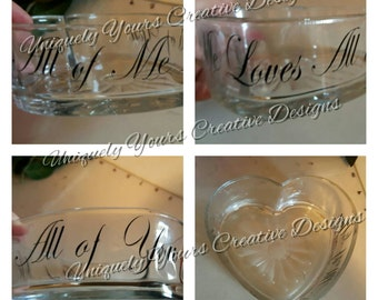Heart Shaped Jewelry Dish, Glass Ring Dish, All Of Me Loves All Of You Jewelry Dish, Anniversary Gift, Gifts for Women, Gift for Her