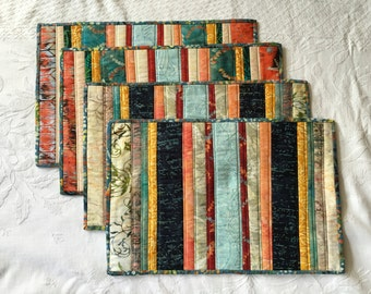 Striped earthtones batik placemat set of 4 (Maine Made)