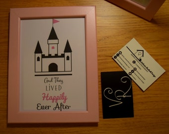"Princess Castle Print. ""And They Lived Happily Ever After"" 7x5 Framed Print"