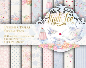 Tea Party Digital Paper Tea Time Paper Pack High Tea Handpainted Paper Seamless Patterns Printable Backgrounds Cute Vintage Tea Cup Teapot