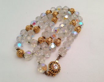 Vintage AB Faceted Crystal and Gold Filigree Beaded Necklace 0493