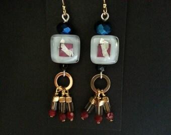 Fused glass silver & gold beaded dangle earrings