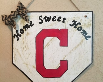 Cleveland Indians sign, home plate sign, home sweet home sign,Cleveland Indians decor, home sweet home, Cleveland Indians fan, Indians gift