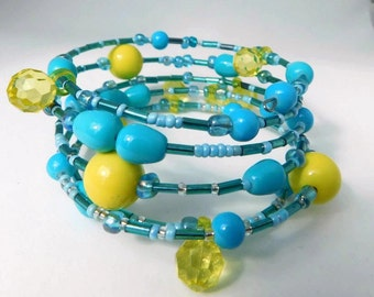 Blue and Yellow beaded Wrap Bracelet