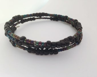 Black and Iridescent Wrap bracelet