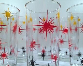 Hazel Atlas -  Mid-Century Red, Black and Yellow Atomic Burst Glasses (Set of 8)
