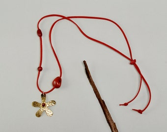 Gold flower necklace, brass daisy necklace, Free shipping, gold flower, hammered pendant, tumbaga jewelry, red cord necklace, long necklace.