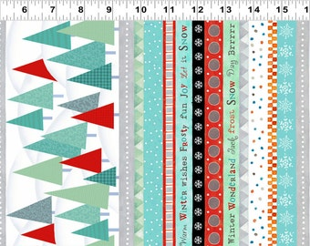 Frosty Fun Fabric Collection - Trees and Holiday Words Striped Border Fabric by Sue Zipkin for Clothworks Fabrics - Listed by the Half Yard