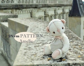 PDF Pattern Teddy Bear Amelie, instant download, stuffed toy, artist toy, hare, rabbit vintage