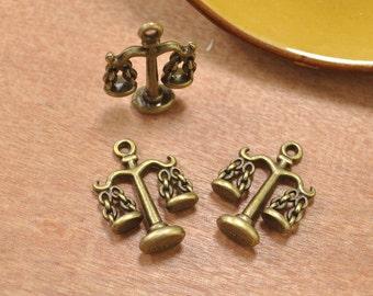 15pcs Balance Scale,Antique bronze Tenpy Charm,3D Scales Pendant,Libra pendants,Twelve Constellation,The Signs of the Zodiac,Jewelry Making