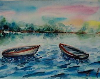 Boat painting Original watercolor painting boat Watercolor river painting Sunrise painting watercolor landscape painting boat art river art
