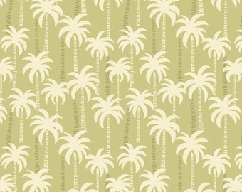 Palm Trees on Sand Green Tropical Cotton Fabric Tropicana Collection by Lewis and Irene per fat quarter and per metre