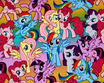 My Little Pony Packed Ponies Multi Cotton Fabric Hasbro by Springs Creative per fat quarter and per metre