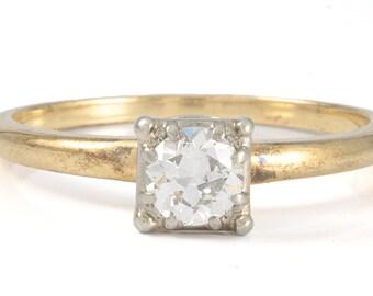 Vintage diamond engagement ring. 14kt engagement ring. 0.40 ct. Old European engagement ring.
