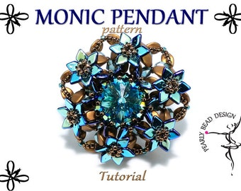 MONIC PENDANT pattern tutorial with pinch and dragon scale beads