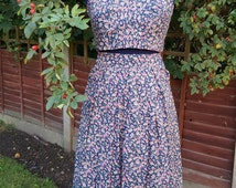 1950s style 2 piece Crop top and full pleated skirt set cotton floral navy pink 50s style retro  vintage