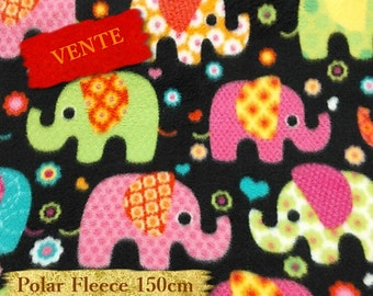 Polar Fleece, Elephant, green, pink, turquoise, black, anti-pilling, by the yard,