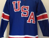 Vtg 80s Team USA Hockey Jersey Blue L Pro Togs Made in USA