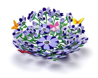 Tzuki Hand Painted Wall Sculpture Purple Flower Bowl Butterflies Circular Home Decor Housewarming Gift Fruit Bowl Present (Diameter 37cm)