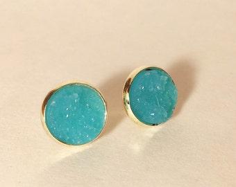 12 mm dtuzy earrings in light blue