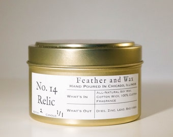 No. 14 Relic. Soy Candle. Travel candles. Gold Tin Candle. Unique gift ideas. Gift ideas for mom. Scented Soy Wax Candle. Hand Poured Candle