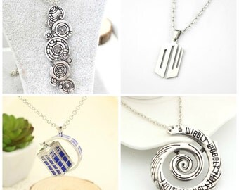 Dr Doctor Who Wibbly Wobbly Timey Wimey Stuff Tardis Police Phone Box Booth Necklace Pendant