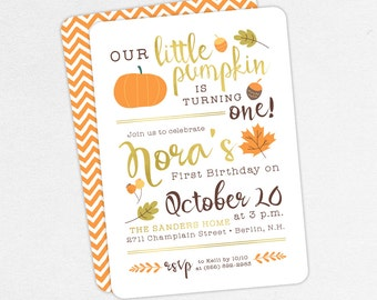 24 HOUR TURNAROUND First Birthday Invitation, Birthday PDF, Printable Invitation, Printed, Fall Birthday, Our Little Pumpkin is Turning One