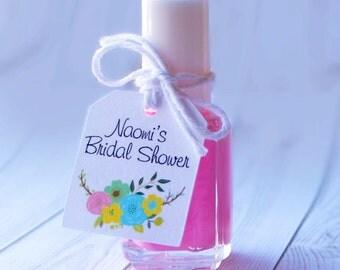 24 CT Bridal Shower Nail Polish Favor Tags, Personalized.