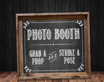 Photo Booth Chalkboard Sign - Instant Digital Download