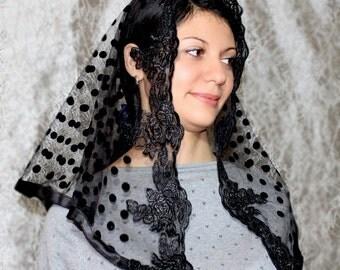 Black veil,Lace Head Covering,black lace mantilla,Half Circle Church Veil,catholic accessories,lace mantilla,Religious Head Coverings