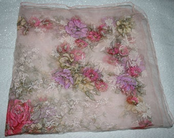 Vintage Sheer Floral Scarf Made in Italy