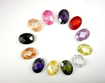 CZ beads, Cubic Zirconia Beads, 13x18mm Faceted Oval Pendant Beads, 1 piece, Hole 1mm, A Grade (OS1318)