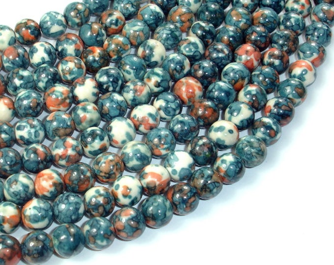 Rain Flower Stone Beads, Gray,  8mm (8.6 mm) Round Beads, 15.5 Inch, Full strand, Approx 46 beads, Hole 1 mm, A quality (377054020)
