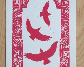 Linocut '' Mille et une voie'' limited series Hand print