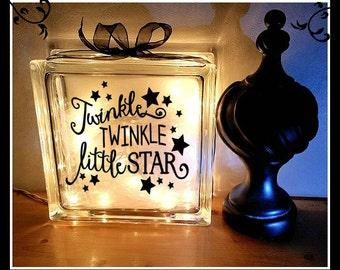 Twinkle Twinkle Little Star Lighted Block, Nursery Gift, Baby Gift, Night Light, Baby Shower Gift, Child's room, nursery rhyme